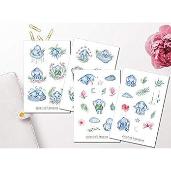 Süßer Elefant Sticker Set | Aufkleber | Journal Sticker | Planersticker | Sticker Tiere | niedliche Sticker | Sticker für Kinder