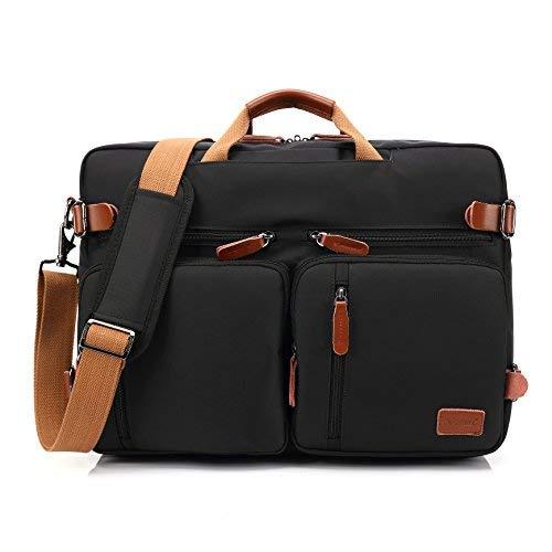 Inmount 15,6 Zoll Laptop Tote Bag Schultertasche Messenger Bag Convertible Rucksack Wasserabweisend Handtasche Business Aktentasche für Herren Damen schwarz schwarz 15.6inch (Convertible Messenger)