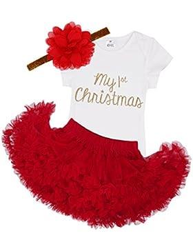 iEFiEL Baby Mädchen Kleidung Set Weihnachten Outfits Strampler mit Röckchen und Stirnband Weihnachtskostüm - Mein...