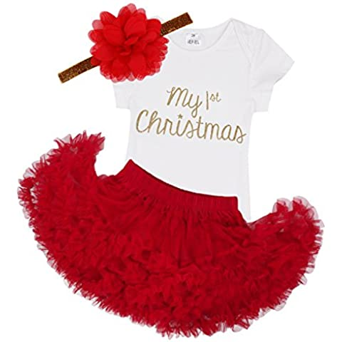 iEFiEL Conjunto de Navidad Fiesta para Bebé Niña Pelele + Falda Estilo de Vestido Princesa para Recién