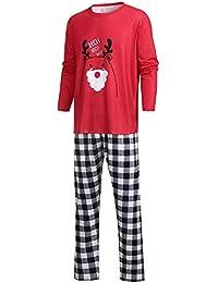 Jaysis Weihnachten Eltern-Kind Familie Outfits Set, Mama & Ich & Daddy Cartoon Brief Deer Top + Hosen Familie Kleidung Pyjamas 2 STÜCKE