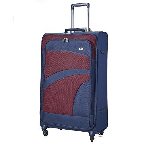 Aerolite Große Leichtgewicht 4 Rollen Trolley Koffer Reisekoffer Rollkoffer Gepäck , 81cm , Marineblau/Pflaume