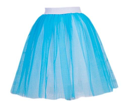Für Meerjungfrau Erwachsene Diy Kostüme (Honeystore Damen's 5 Schichten 55cm Tüllrock Knielang Tütü Tüll Rock Kleid Reifrock Glockenrock One Size Blau und)