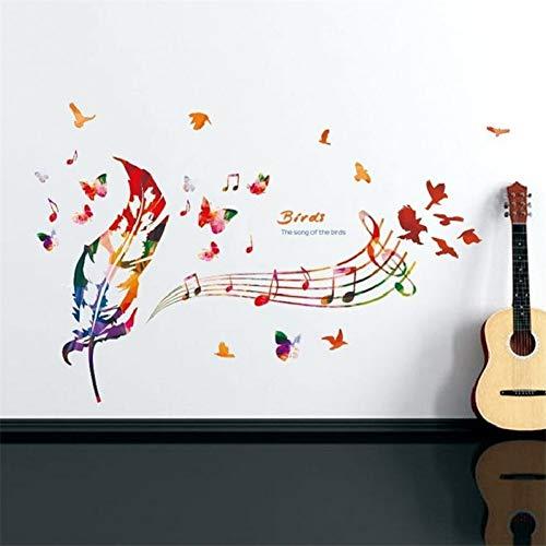 QIANGTIE Wandaufkleber Wirkliche Ankunft das Lied der Vögel Bunte Feder Musik Wandaufkleber Aufkleber Removable Home Decoration Art Sticker -
