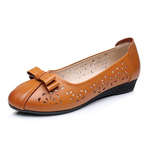 HWF Scarpe donna Mother Shallow Mouth Single Shoes Comode scarpe da donna di mezza età in pelle morbida fondo femminile ( Colore : Nero , dimensioni : 38 ) Apricot Yellow