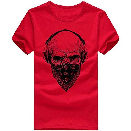 ASHOP Herren Mode Bedrucktes T-Shirt Rundhals Kurzarmshirt Vintage T-Shirt Print Shirt Muscle Slim Fit Sweatshirt für deinen trainierten Körper (M-3XL) (Rot, L)