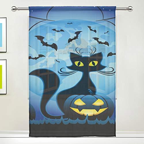ISAOA Tüll-Vorhang,transparent für Katzen und Halloween,Kürbisse gegen Vollmond,NI Fenster Behandlungen,durchscheinende Vorhänge für Küche,Wohnzimmer,Schlafzimmer,Dekoration,Einzelpanel,55x78x1(in)