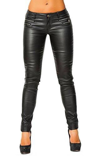 Damen Kunstlederhose (339), Grösse:40, Farbe:Schwarz