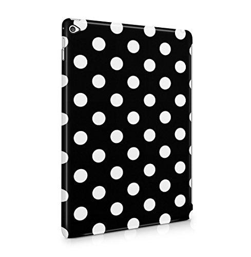 Black Polka Dots Pattern Dünne Rückschale aus Hartplastik für iPad Air 2 Tablet Hülle Schutzhülle Slim Fit Case Cover Hearts Hard Case, Snap