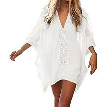 Mujer Túnica Caftán Playa Pareo Camisola con Cuello V Profundo Bikini Cover UpKaftan Playa Vestido Verano para Mujer Ropa de Playa Talla única