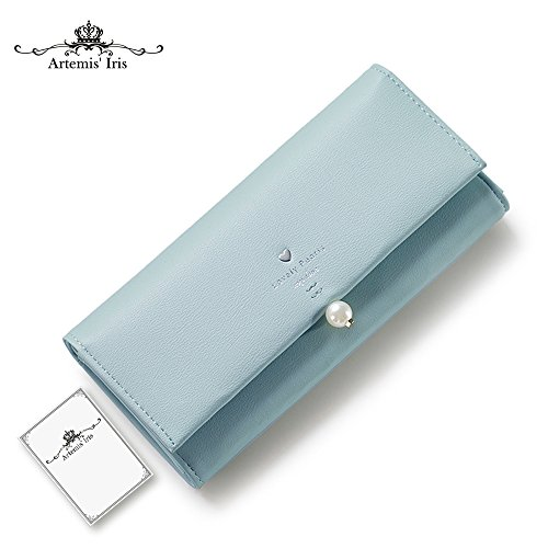 Artemis'Iris Womens perla elegante Agraffe Leather Wallet grande capacità Cards Holder Money Organizer borsa lunga, rosa green