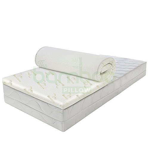 Bamboo Memory Foam Mattress Topper for King Size Bed, Orthopaedic Anti Allergy Microfibers Mattress Protector for a Deep Sleep, Hypoallergenic, 4 cm Thick 2