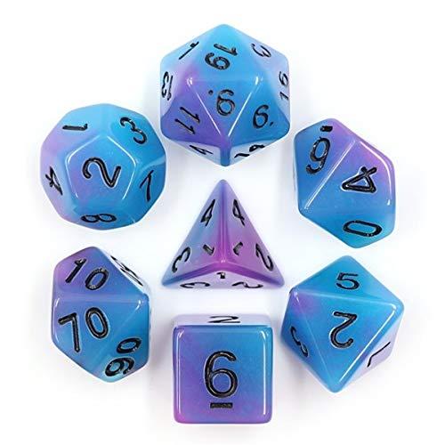Dice Würfel-Set Glow in The Dark: Blauviolett - für Rollenspiele, Brettspiele & Sammelkartenspiele ()