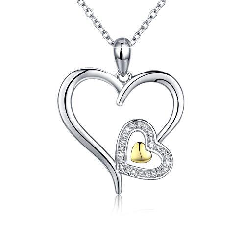 CUOKA MIRACLE Cœur Collier Sterling 925Sliver Pendentif Oxyde de Zirconium Bijoux pour Femme–45,7cm + 5,1cm Chaîne d'extension