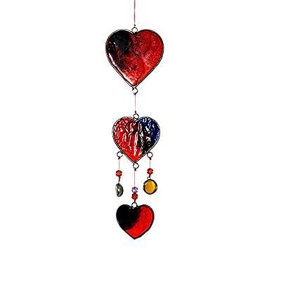 HAB & GUT (HA010) Windspiel / Mobile mit roten Glas HERZEN, Länge ca. 32 cm von Hab & Gut bei Du und dein Garten