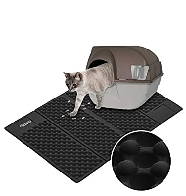 DADYPET Cat Litter Mat Foldable Cat Feeding Mat Durable Waterproof EVA Litter Box Mat Non-Toxic Easy Clean Cat Little Tray Pad, 72.5x46.8cm/28.5x18.4in
