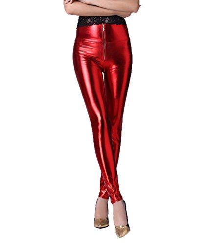 YeYan Damen Faux Leder Leggings Frauen Sexy Wet Look Glänzen Glänzend Enge Flüssige Metallische Faux Leder Leggings Mit Hoher Taille Bund Leggings Jeggings Mit Reißverschluss