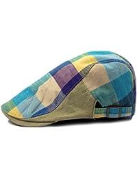 Gankmachine Gorra de los Hombres del Enrejado del Color Sombrero de la Boina  Adjustiable Plana Tapa bad5cceef4c
