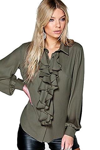 Olive Womens Ona Ruffle Detail Blouse - 14