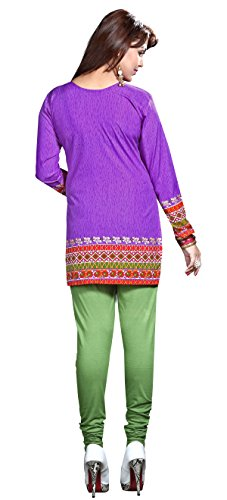 Maple Clothing Donna Stampato Kurti Tunica Top Brevi Camicetta Indiani Vestiti Viola