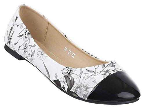 Damen Ballerinas Schuhe Loafers Pumps Schwarz Weiß 36
