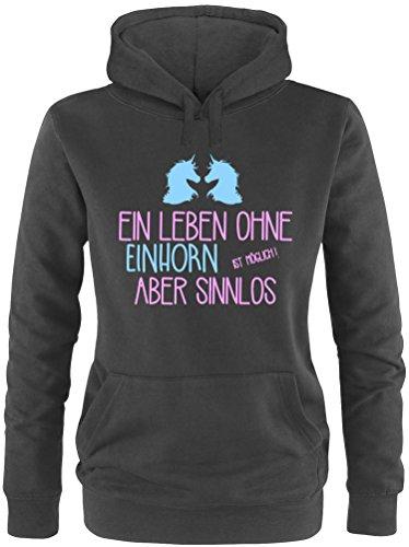 EZYshirt® Ein Leben ohne Einhorn ist möglich ! Aber sinnlos Damen Hoodie Schwarz/Rosa/Hellbl