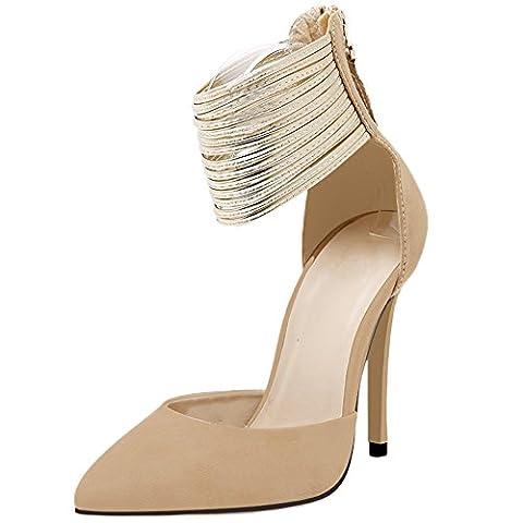 HooH Femmes Sandales Stiletto bout pointu D'orsay Sexy Métal Ankle