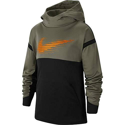 Nike Jungen Therma GFX Po Hoodie T-Shirt, (Medium Olive/Black/Total Orange), (Herstellergröße