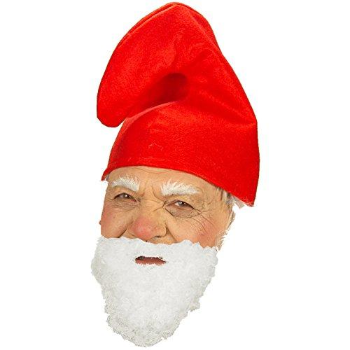 Zwergenmütze rot + Bart Hut für Kostüm Zwerge Gnom ()