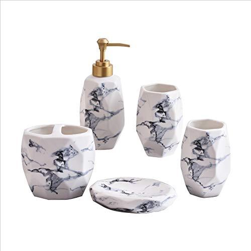Marmor Keramik-Badezimmer-Waschset 5, Set Contains: Mundspülung Cup, Zahnbürste Stecker, Hand Sanitizer Flasche, Seifendish