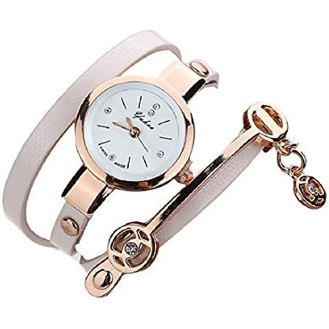 Tongshi Las mujeres de metal Reloj con correa (blanco)