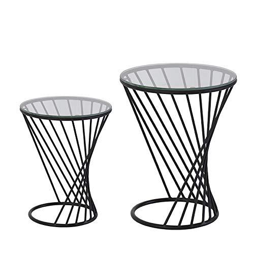 FEI Table d'appoint de table d'appoint Table d'appoint ronde en métal avec plateau en verre 3 couleurs (Couleur : NOIR, taille : 38 * 48CM+50 * 60CM)