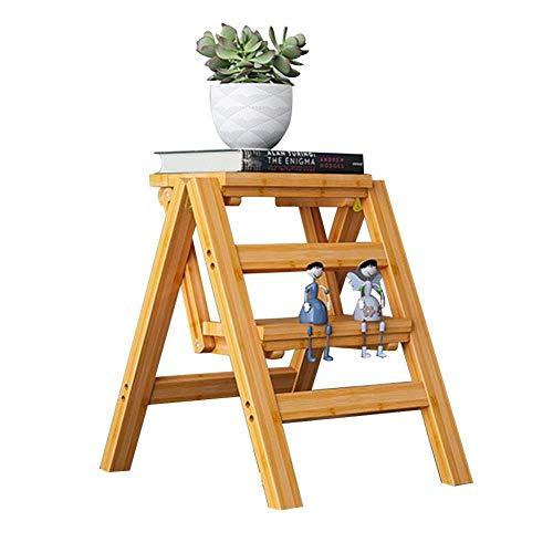 Costzon Klapptrittleiter 3-stufig Holzleiter dunkel nussbraun Klapptrittleiter Treppen Multifunktions-Barhocker Haushalt Aufsteigendes Pedal Blumenständer Möbel (Größe: 4 Stufen) ( Size : 2 Steps ) -