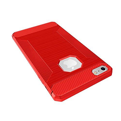 EKINHUI Case Cover Für Apple IPhone 5 u. 5s u. SE TPU Abdeckungs-Fall gebürstete Linien Beschaffenheit Karikatur-Faser Haltbare Anti-Rutsch TPU Abdeckung Schock-Absorbtion schützende rückseitige Abdec Red