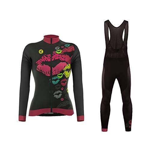 Uglyfrog Radsportbekleidung Anzüge Schnell Trocknend Lange Ärmel Fahrrad Jersey Shirt Tops 3D Kissen Lange Hosen Reithose für Damen