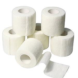 6 Rollen Selbsthaftende Bandage, Wundverband, Sport Elastischer Verband, 5cm x 4.5m – Weiß