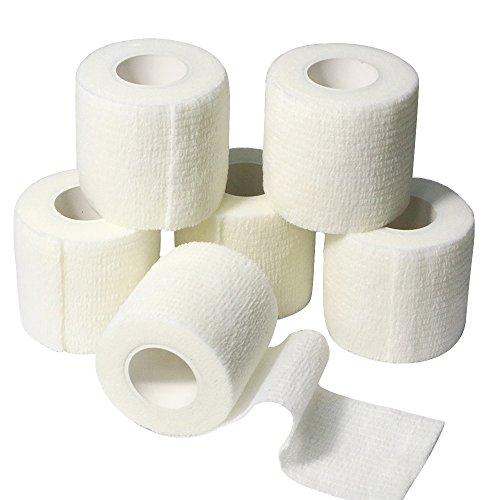 6 Rollen Selbsthaftende Bandage, Wundverband, Sport Elastischer Verband, 5cm x 4.5m - Weiß