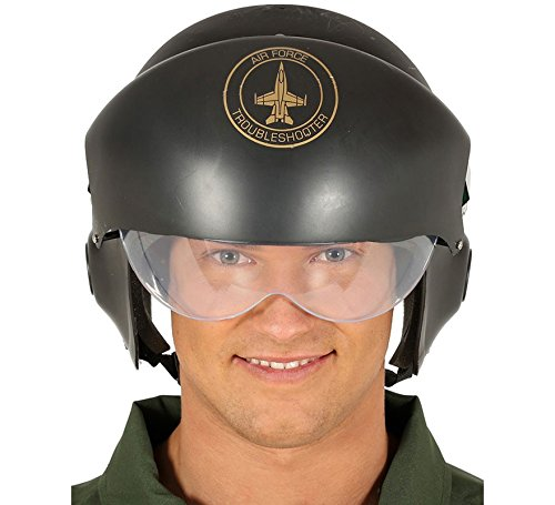 Guirca Pilotenhelm Helm Kampfpilot Air Force Einsatzhelm Helm Schwarz (Helm Air Force)