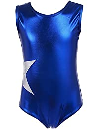 Beyove Girls' Sleeveless Gymnastics Dance Solid One Piece Sparkle Tank Leotard