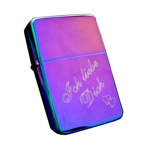 Cool Benzinfeuerzeug Rainbow / Spectrum mit Gravur Ich liebe Dich + Herzchen