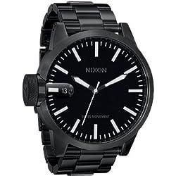 Nixon 1001 A198 - Reloj analógico de caballero de cuarzo con correa de acero inoxidable negra