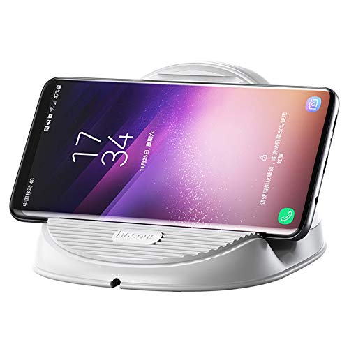 WBGSNHHH Cargador Inalámbrico Rápido para iPhone X, 8, 8 Plus Y Samsung S8, S8+, S7, S7 Edge, S6 10W Cargador Qi Anti-Deslizamiento Diseño para Samsung Y iPhone Y Teléfonos Qi-Enabled,White