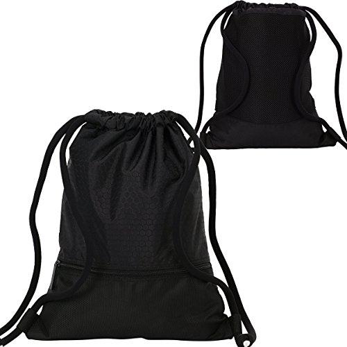Imagen de  de cordón bolsa de cuerdas coolzon® unisex saco deporte bolso gimnasio de nylon con bolsillo grande de cremallera para adultos y niños 43x35cm/ 16.9