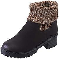 Holeider Leder Stiefeletten Damen Warm Quadratischer Absatz Schneestiefel Winterstiefel Casual Runder Zeh Schuhe Frauen Winterschuhe Boots Stiefeletten Stiefel,