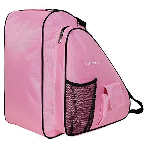 Ventcy Skischuhtasche Schlittschuhetasche Helmtasche Eislauf Rollschuhetasche Kinder Skifahren Nylon Komft Stiefeltasche mit Rucksackfunktion Wasserabweisend (Pink)