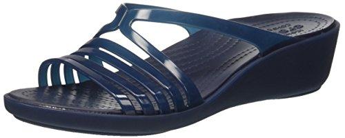 Crocs Isabella Mini Wedge W Navy/Navy, Pantoufles Non Doublées Femme Bleu (Navy/Navy)