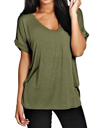 ZANZEA Damen V-Ausschnitte Kurz Fledermausärmel Lose T-Shirt Tops Bluse Armee-Grün EU 48/Etikettgröße 2XL (V-neck Top Basic)
