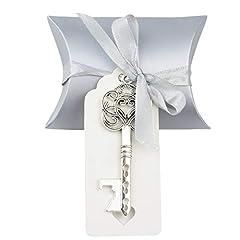Idea Regalo - 50 pz Vintage Chiave Apribottiglie Matrimonio Chiave Apribottiglie Matrimonio Bomboniere Souvenirs Set con Etichetta di Ringraziamento e Nastro Francese(Argento Antico)