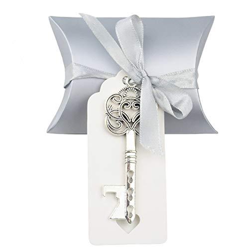 50 pz vintage chiave apribottiglie matrimonio chiave apribottiglie matrimonio bomboniere souvenirs set con etichetta di ringraziamento e nastro francese(argento antico)
