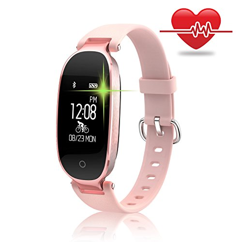 Fitness Tracker for Women Heart Rate Monitors Step Counter Activity Trackers IP67 Waterproof Bluetooth Pedometer Wristband with Sleep Monitor for Android & IOS Smartphone, iPhone, Samsung by WOWGO (Rose Gold)